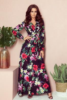 245-3 Ilga puošni gėlėta suknelė