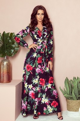 245-3 Long dress with frill and cleavage - red flowers