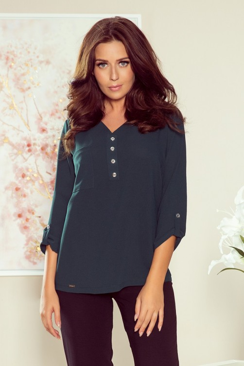 259-2 Blouse with buttons - green