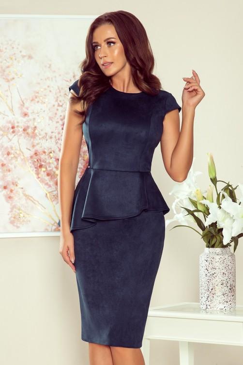 192-9 Elegantiška tamsiai mėlyna suknelė