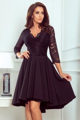 210-10 NICOLLE - Puošni juoda gipiūrinė suknelė
