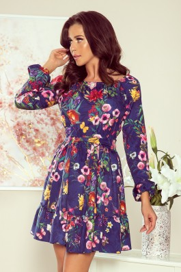 265-2 DAISY Dress with frills - flowers + navy blue