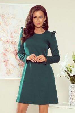 264-1 NELL Tamsiai žalia trapecijos formos suknelė