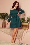 265-1 DAISY Žalia suknelė su raukinukais
