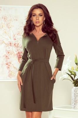 273-1 KAREN Elegantiška khaki suknelė