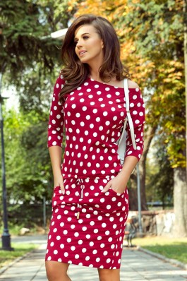 13-111 Sports dress with binding and pockets - burgundy + polka dots