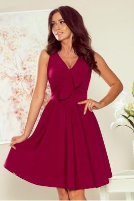 274-1 ANITA Puošni bordo suknelė su dailiomis klostėmis