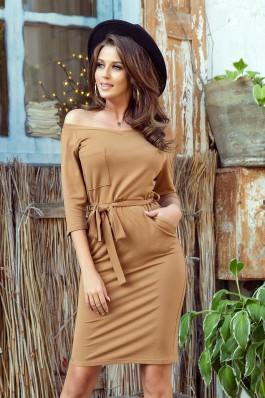 278-3 Karamelinė suknelė su kišenėmis
