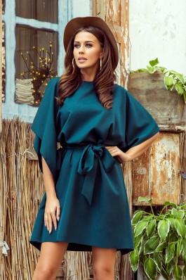 287-2 SOFIA Tamsiai žalia plazdanti suknelė