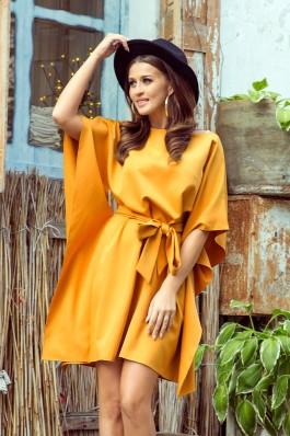 287-1 SOFIA Garstyčių spalvos plazdanti suknelė