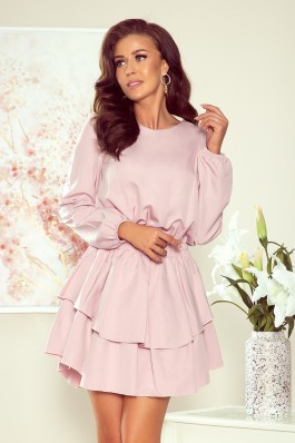 289-1 MATTIE Dress with a double skirt - dirty pink