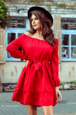265-4 DAISY Dress with frills - RED
