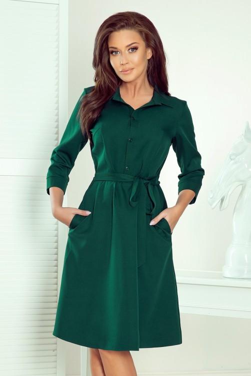 286-1 SANDY Žalia marškinių tipo suknelė
