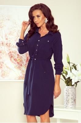 258-3 BROOKE Tamsiai mėlyna marškinių tipo suknelė