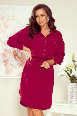258-1 BROOKE Bordo spalvos marškinių tipo suknelė