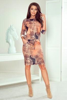 13-113 Stilinga patogi išskirtinio audinio suknelė