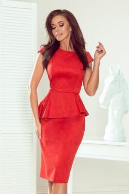 192-11 Elegantiška raudona midi ilgio suknelė