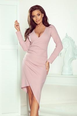 290-1 LILA Asimetrinė pastelinės rožinės spalvos suknelė su klostėmis