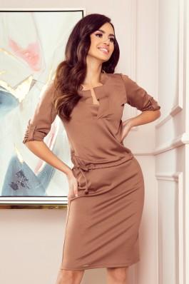 161-15 AGATA - dress with a collar - light brown