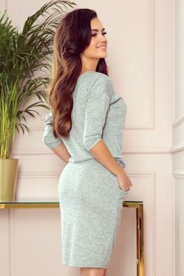 13-117 Pilka storesnio audinio suknelė