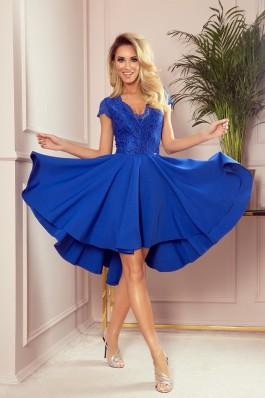 300-3 PATRICIA - Sodrios mėlynos spalvos proginė suknelė su nėriniais