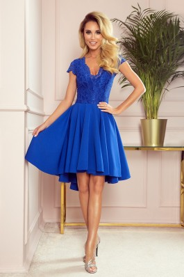 300-3 PATRICIA - dress with longer back with lace neckline - ROYAL BLUE