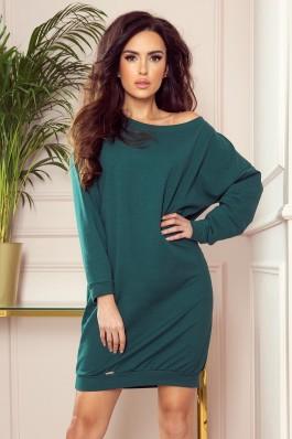 293-1 OVERSIZE Loose sweatshirt dress - green