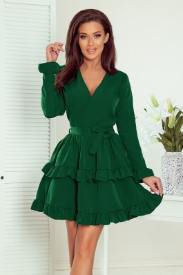 297-1 CAROLINE Žalia suknelė V formos iškirpte