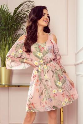 292-1 MARINA Gėlėta šifoninė suknelė