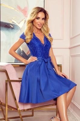 242-3 ANNA Karališkos mėlynos spalvos suknelė su nėriniais
