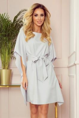 287-5 SOFIA Šviesiai pilka plazdanti suknelė