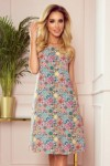 296-1 VICTORIA A trapezoidal dress with a colorful pattern