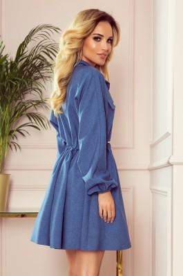 298-2 CLARA - Shirt dress with puffy sleeves - blue