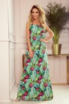294-2 A long summer dress with straps - green leaves and pink flowers