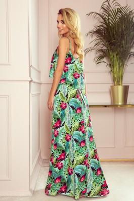 294-2 Ilga gėlėta vasariška suknelė su petnešėlėmis
