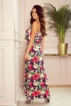 294-1 Ilga gėlėta vasariška suknelė su petnešėlėmis