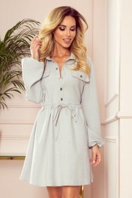 298-1 CLARA - Shirt dress with puffy sleeves - grey