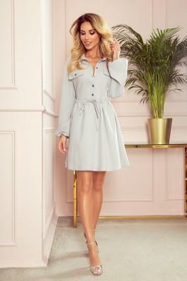298-1 CLARA Marškinių tipo lino imitacijos suknelė