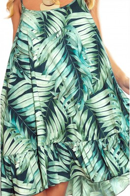 302-1 BEATRICE A strappy dress with green leaves