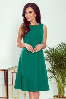 308-1 KARINE - Elegantiška asimetrinė žalia suknelė
