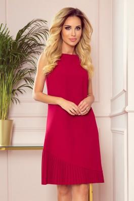 308-2 KARINE - Elegantiška trapecijos formos raudona suknelė