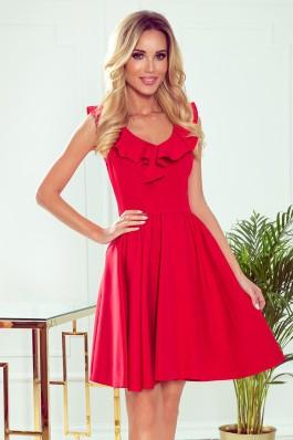 307-1 POLA Puošni raudona suknelė su klostėmis
