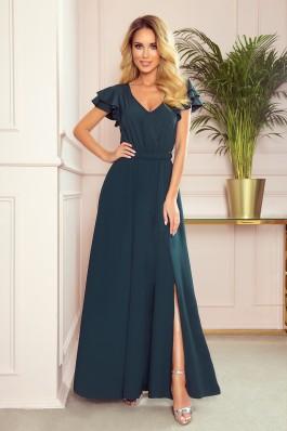310-1 LIDIA Prabangi tamsiai žalia puošni suknelė