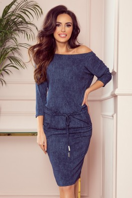 13-77 Tamsiai mėlyna džinsinė laisvalaikio suknelė