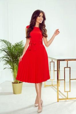 311-1 LILA Nuostabi raudona plisuota proginė suknelė