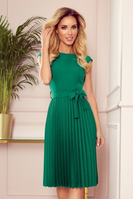 311-3 LILA Įspūdinga gaivios žalios spalvos plisuota suknelė