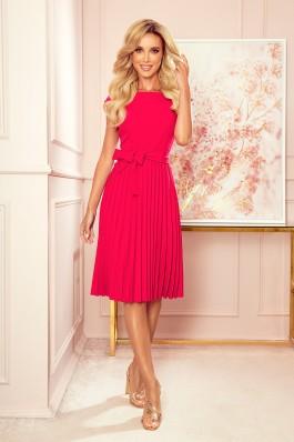 311-5 LILA Nuostabi plisuota ryškios aviečių spalvos suknelė