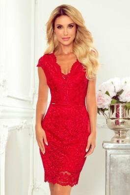 316-1 Elegantiška aukštos kokybės raudona nėriniuota suknelė