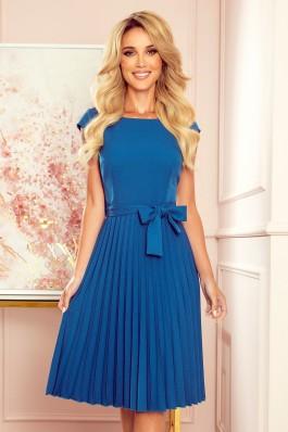 311-4 LILA Nuostabi plisuota mėlyna suknelė