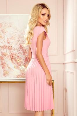 311-7 LILA Nuostabi plisuota rožinė suknelė